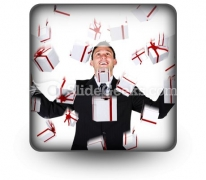 Business Man With Gifts PowerPoint Icon S