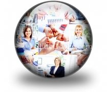 Business Woman Collage PowerPoint Icon C