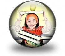 Child Girl Studying PowerPoint Icon C