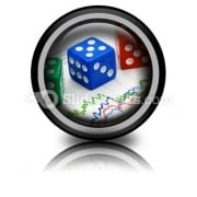 Dices On Financial Graph PowerPoint Icon Cc