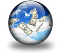 Dollar Bills Fly In Flocks PowerPoint Icon C