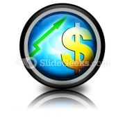 Dollar Increasing Value PowerPoint Icon Cc