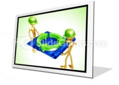 Green Construction Building PowerPoint Icon F