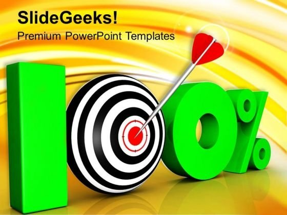 100 Percent With Target Competitive Business PowerPoint Templates Ppt Backgrounds For Slides 0313