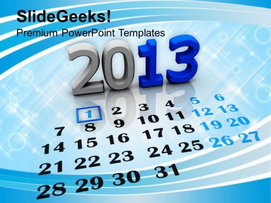 2013 Calendar New Year Holiday PowerPoint Templates Ppt Background For Slides 1112
