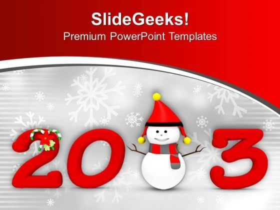 2013 New Year And Christmas Concept PowerPoint Templates Ppt Backgrounds For Slides 0113