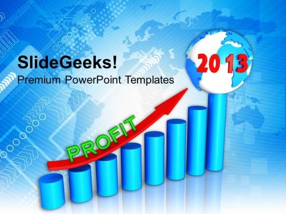 2013 New Year Graph With Profit Business PowerPoint Templates Ppt Backgrounds For Slides 1112