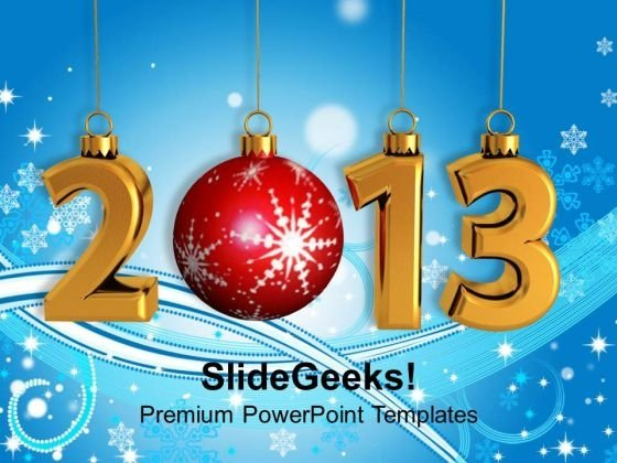 2013 With Christmas Ball Abstract Background PowerPoint Templates Ppt Backgrounds For Slides 1212