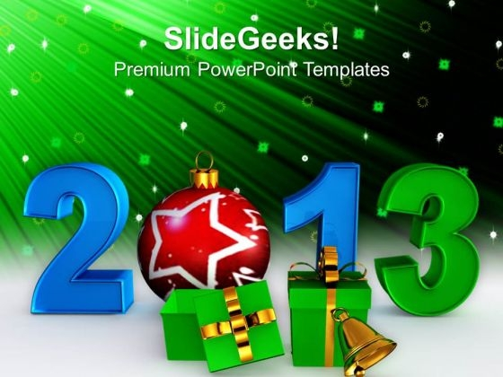 2013 With Christmas Elements Events PowerPoint Templates Ppt Backgrounds For Slides 1212