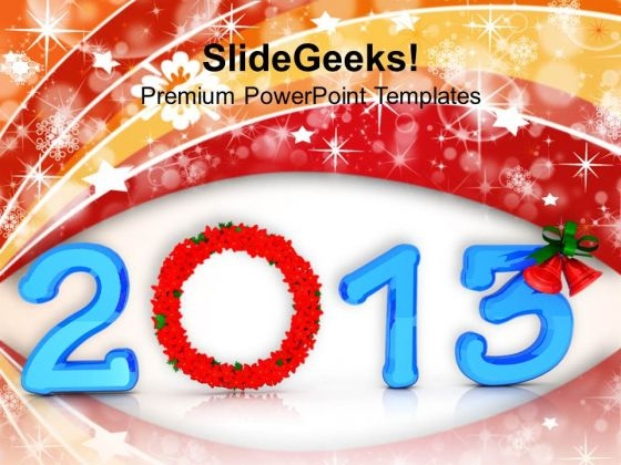 2013 With Floral Wreath PowerPoint Templates Ppt Backgrounds For Slides 1212