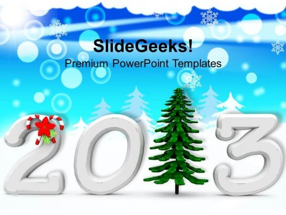 2013 With Pine Tree Christmas Background PowerPoint Templates Ppt Backgrounds For Slides 1212
