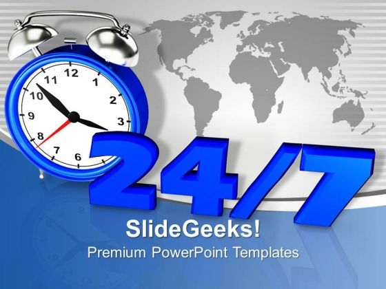 24 7 Sign Global Business PowerPoint Templates Ppt Backgrounds For Slides 1212