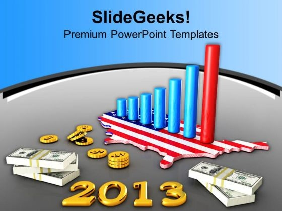 3d America Business Bar Graph 2013 PowerPoint Templates Ppt Backgrounds For Slides 1212