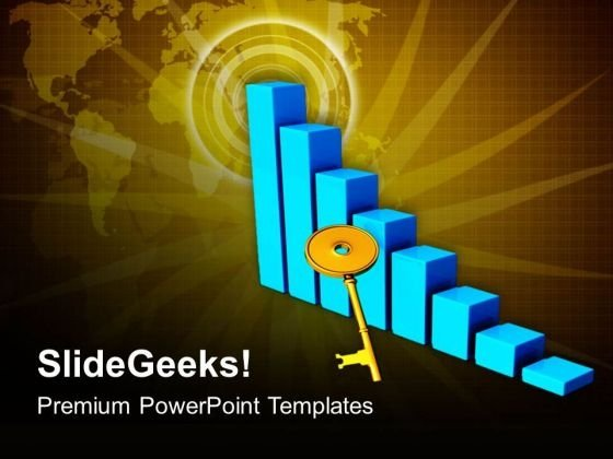 3d Bar Graph Rising With Golden Key PowerPoint Templates Ppt Backgrounds For Slides 0413