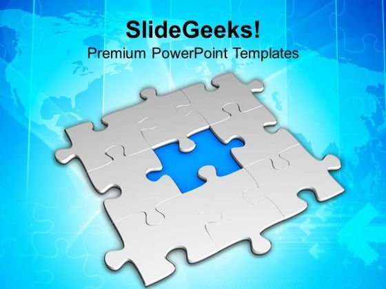 Puzzle with missing piece powerpoint templates slides and graphics 3d blue missing jigsaw puzzle business powerpoint templates ppt backgrounds for slides 0413 toneelgroepblik Images