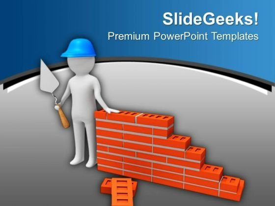 3d Builder With Brick Wall PowerPoint Templates Ppt Backgrounds For Slides 0713