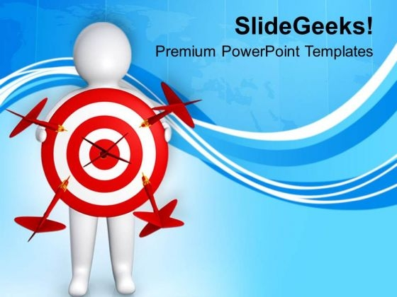 3d Character Holding A Red Target PowerPoint Templates Ppt Backgrounds For Slides 0713