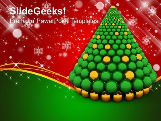 3d christmas tree made of spheres powerpoint templates and, Powerpoint templates
