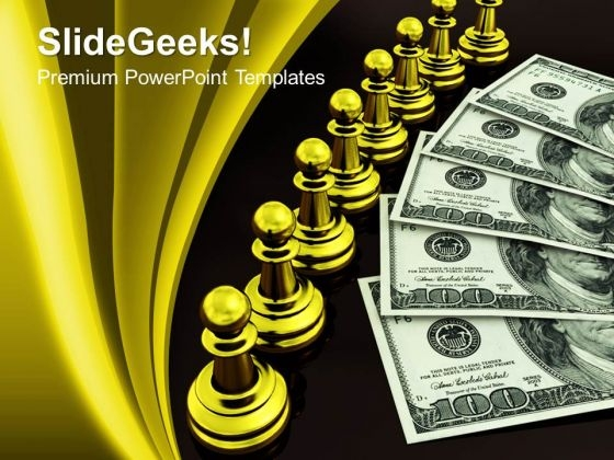 3d Concept Of Golden Chess And Money PowerPoint Templates And PowerPoint Themes 1012