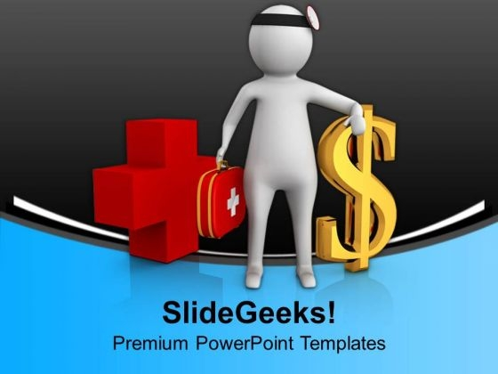 3d Doctor With Doller Sign PowerPoint Templates Ppt Backgrounds For Slides 0713