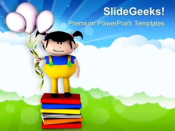 3d Girl With Balloons Celebration Theme PowerPoint Templates Ppt Backgrounds For Slides 0413