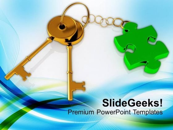 3d Golden Key With Puzzle Piece PowerPoint Templates Ppt Backgrounds For Slides 0213