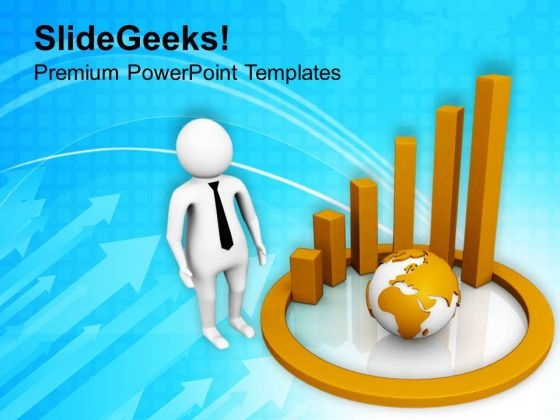 3d Graph With Globe PowerPoint Templates Ppt Backgrounds For Slides 0713