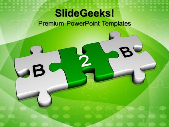 3d Green Jigsaw Puzzle Pieces With B2b PowerPoint Templates And PowerPoint Themes 1012