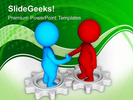 3d Handshake On Gears PowerPoint Templates Ppt Backgrounds For Slides 0713