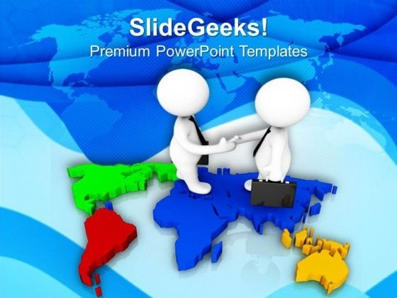 3d Handshake On World Map PowerPoint Templates Ppt Backgrounds For Slides 0713