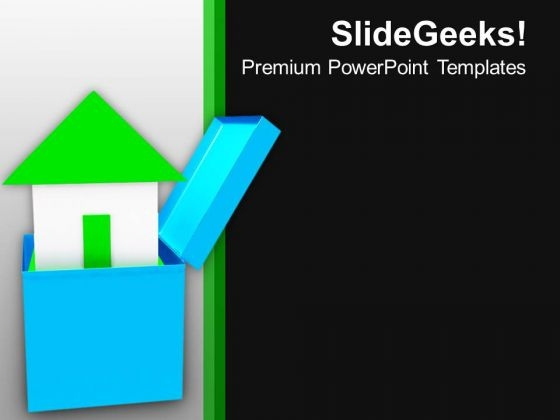 3d House Coming Out Of Box PowerPoint Templates Ppt Backgrounds For Slides 0213