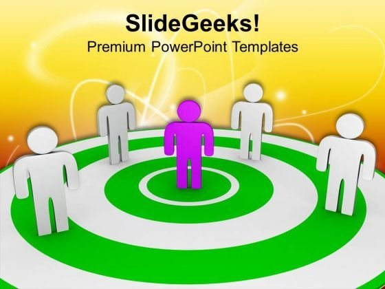 3d Human Figures On Target PowerPoint Templates Ppt Backgrounds For Slides 0713