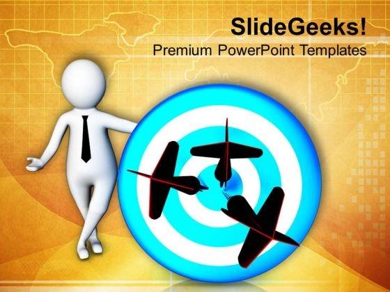 3d Illustration Dart On Target PowerPoint Templates Ppt Backgrounds For Slides 0713