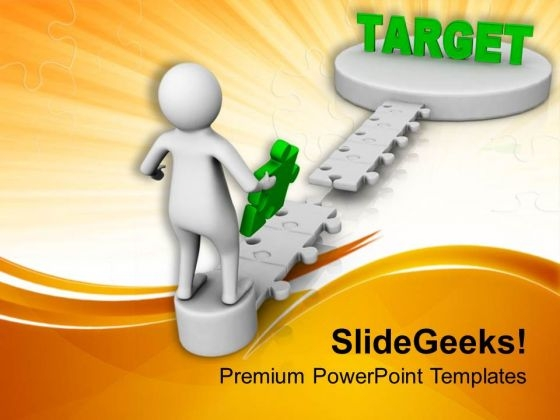 3d Illustration Of A Man On The Way To Target PowerPoint Templates Ppt Backgrounds For Slides 0713