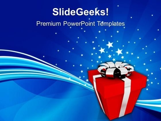 3d Illustration Of Gift Holiday PowerPoint Templates And PowerPoint Themes 0912