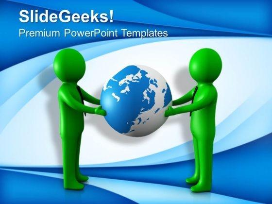 3d Illustration Of Men Holding Globe PowerPoint Templates Ppt Backgrounds For Slides 0713
