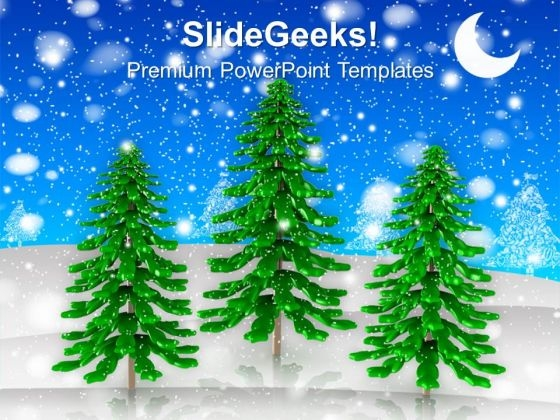 3d illustration of pine tree christmas powerpoint templates ppt
