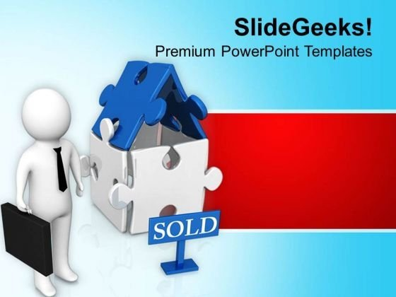 3d Illustration Of Sold House PowerPoint Templates Ppt Backgrounds For Slides 0813