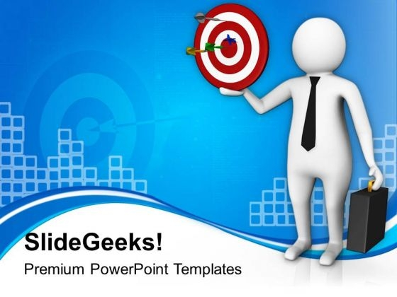 3d Image Of Businessman With Target PowerPoint Templates Ppt Backgrounds For Slides 0813