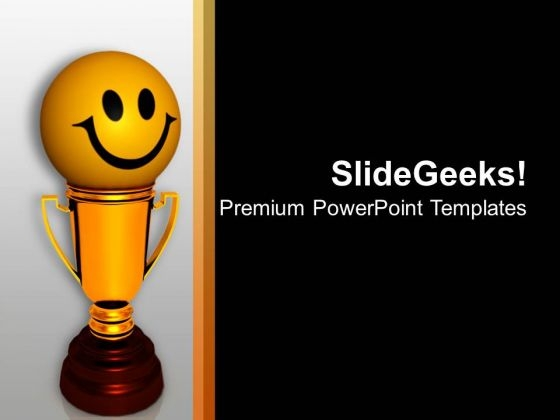 3d Image Of Happy Smiley With Trophy PowerPoint Templates Ppt Backgrounds For Slides 0213