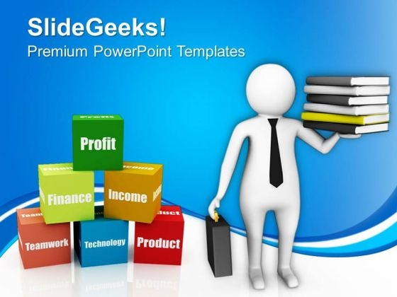 3d Image Of Man With Business Books PowerPoint Templates Ppt Backgrounds For Slides 0813