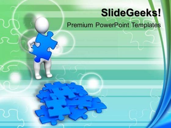 3d Man And Puzzle Success PowerPoint Templates And PowerPoint Themes 0912