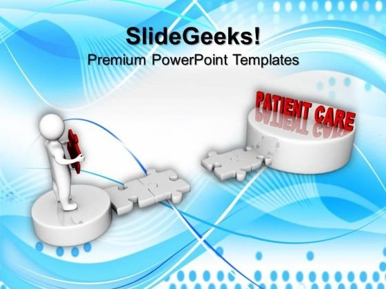 3d Man And Puzzle With Word Patient Care Medical PowerPoint Templates And PowerPoint Themes 1012