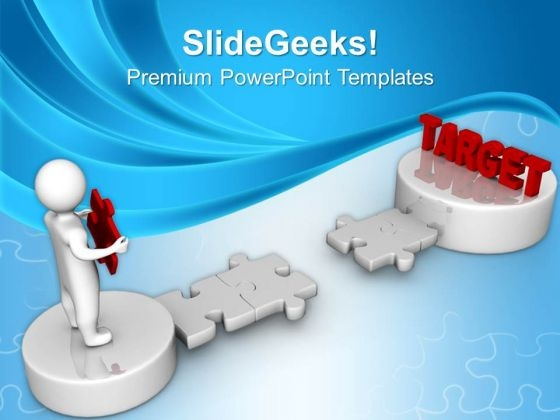 3d Man And Puzzle With Word Target Business PowerPoint Templates And PowerPoint Themes 1012