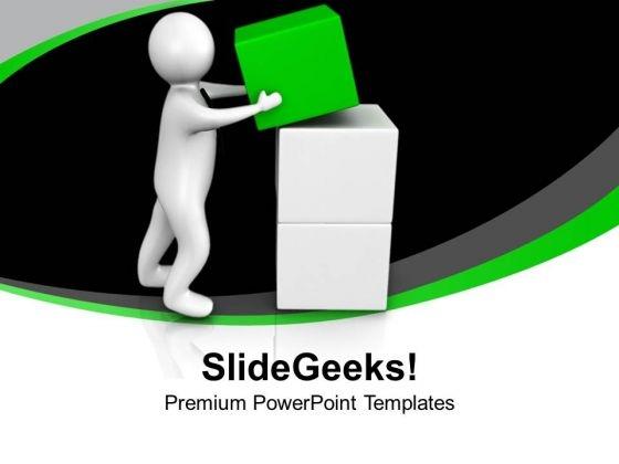 3d Man Arranges Cubes In Place Business PowerPoint Templates Ppt Backgrounds For Slides 0213