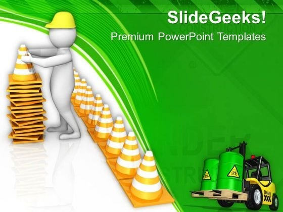 3d Man Arranging Safety Cones PowerPoint Templates Ppt Backgrounds For Slides 0813