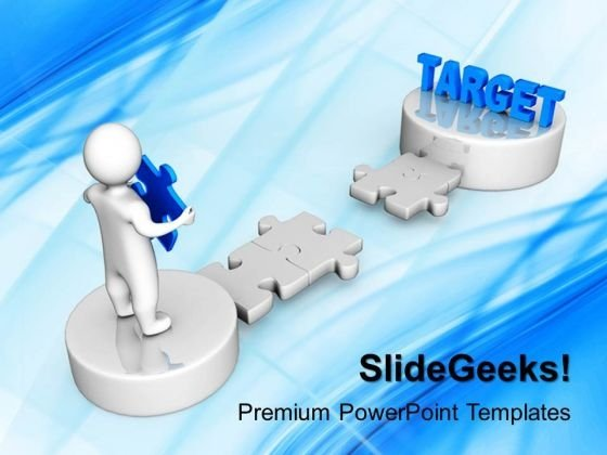 3d Man Carry A Puzzle With Target PowerPoint Templates And PowerPoint Themes 1012