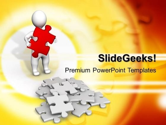 3d Man Carry A Red Puzzle Business PowerPoint Templates And PowerPoint Themes 1012