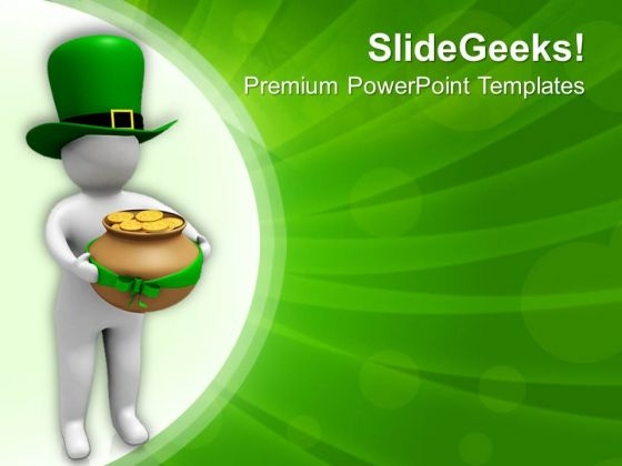 3d Man Carrying Pot Of Gold Coins PowerPoint Templates Ppt Backgrounds For Slides 0313