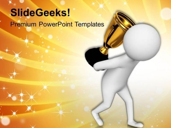 3d Man Carrying Troffy PowerPoint Templates Ppt Backgrounds For Slides 0813